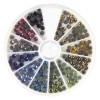 Hotfix-štrasové kamínky, 4 mm, barevná směs, Box 240 ks