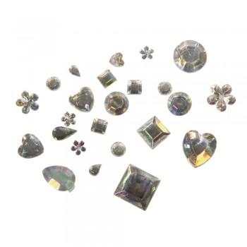 Akryl-štras-kamínky pro dekorování, 1000ks směs tvarů - iris