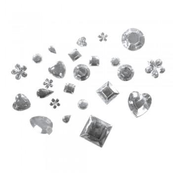 Akryl-štras-kamínky pro dekorování, 1000ks směs tvarů - krystal