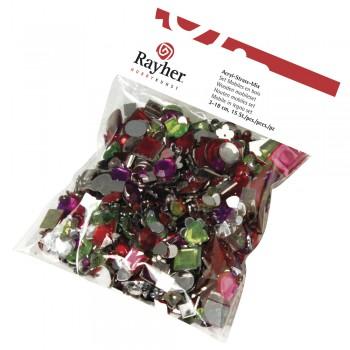 Akryl-štras-kamínky pro dekorování, 1000ks směs tvarů a barev