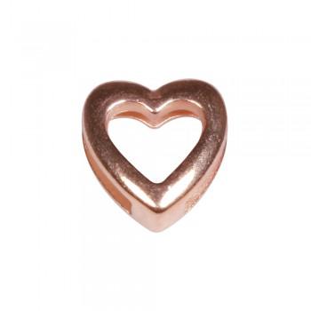 Kovový komponent, srdíčko - růžové zlato, 1,3x1,4cm, průvlek 1cm