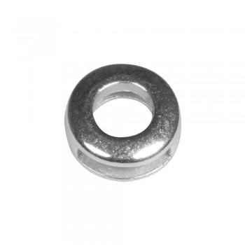 Kovový komponent - kroužek, 1,3cm, 1cm  - stříbrný