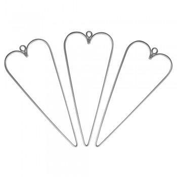 Drátěný polotovar - srdce, 12x5cm, 3ks