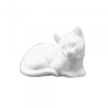 kočka ležící polystyren, 14cm