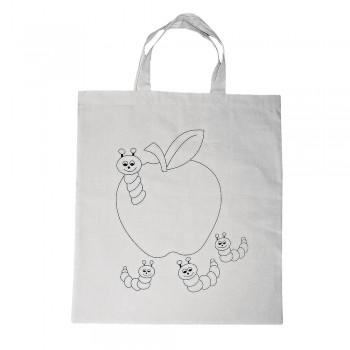 taška předkreslená, bavlna přírodní,38x42cm - jablíčko