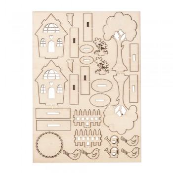Dřevěná stavebnice - zahradní domeček , 26 dílů