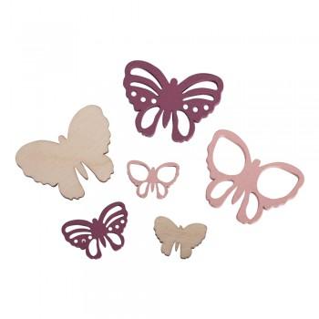 Přízdoba dřevěná - motýlci, 2-4x1,5-3cm, 17ks, směs růžová