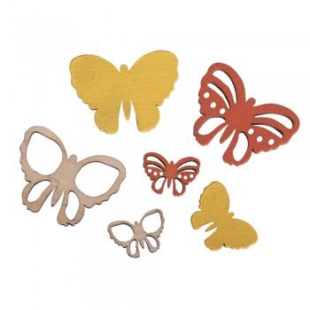 Přízdoba dřevěná - motýlci, 2-4x1,5-3cm, 17ks, směs žlutá
