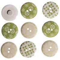 Knoflíky dřevěné - Jaro, 2,5cm ø, bílo-zeleno-žluté, 9 ks