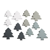 Přízdoba dřevěná - stromečky, 3,5+2,5cm,barevná směs, 12ks