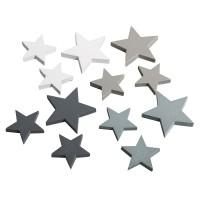 Přízdoba dřevěná - hvězdy, 3,5+2,5cm, barevná směs, 12ks