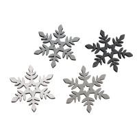 Dřevěná přízdoba - sněhové vločky, 3,5cm ø, 4 barvy, 12ks