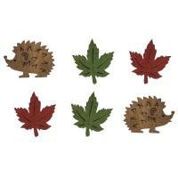 Přízdoba dřevěná - ježci a listy, 2-2,5cm, 24ks, mix barev