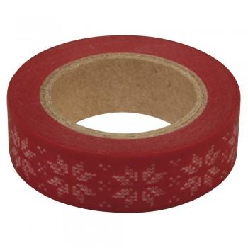 Washi Tape 15mm, 15m - vločky na červené