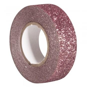 Glitter Tape - starorůžová, 15mm, 5m