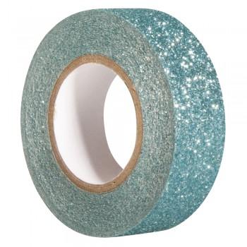 Glitter Tape - tyrkysová, 15mm, 5m