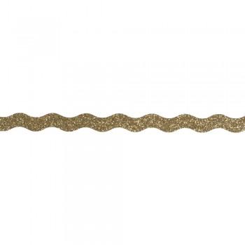 Glitter Tape - vlnovka - zlatá, 15mm,  5m