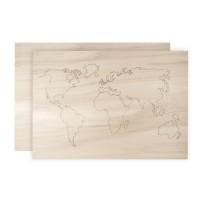 Mapa světa - dřevěná, 42x29,7x0,4cm, 1x vyřezaná + 1 podkladová deska