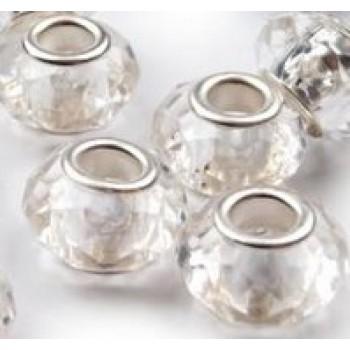 korálky broušené, plastové, velký průvlek, 4ks - krystal