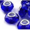 korálky broušené, plastové, velký průvlek, 4ks - modrá