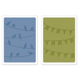 textura embossovací - ptáčci+ praporky